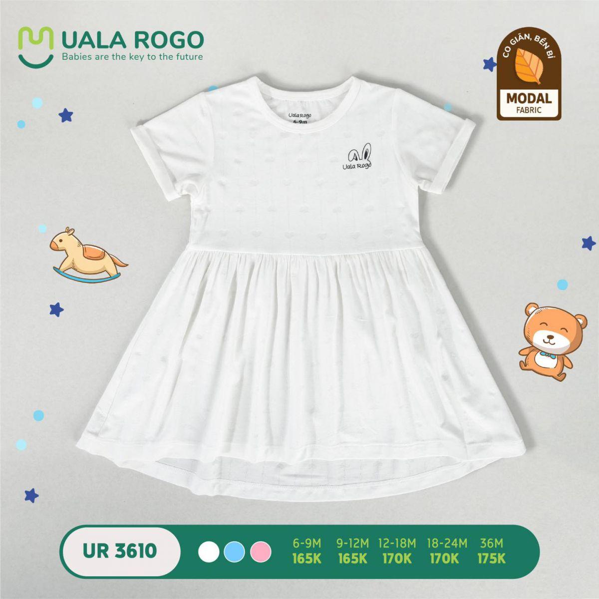 UR3610.3 - Váy đầm vải sợi sồi Uala Rogo màu trắng